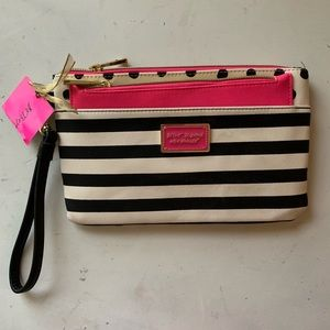 Betsey Johnson Striped/Polka Dot Wristlet
